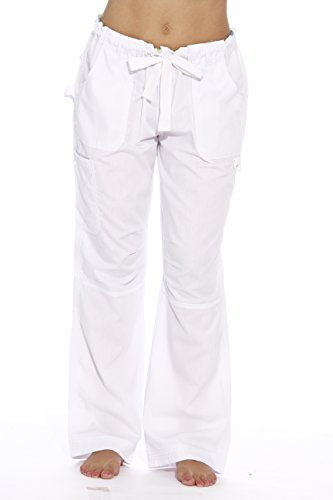 24000PWHT-29-M Just Love Women's Utility Scrub Pants ,White Utility Pant With Aztec Print Inset,Medium