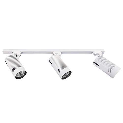 Modern Three Light Track - Track Lighting Kit 3-LED Light More Bright with 4500 Lumens Adjustable Track Head Easy to Install, LED Bulbs Included, White …