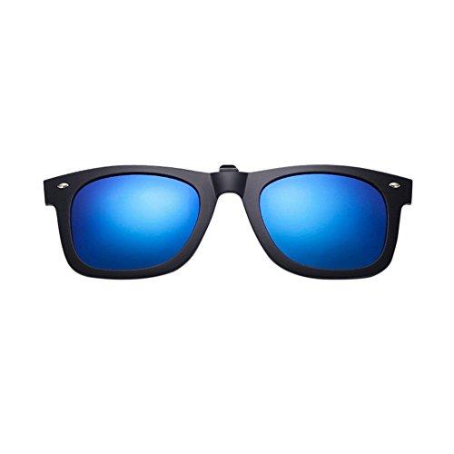 éblouissement Givré Rectangle de Polarisées Lunettes Clip Femme Pour Anti Flip UV400 Eyewear On Homme Cadre Miroité Up Bleu Soleil Hzjundasi Sunglasses OSq8PwdO