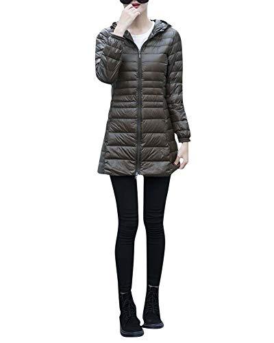 Sottile Leggero E Larga Fit Donna Militare Taglia Piumini Autunno Cappuccio Verde Media Inverno Giacche Slim Sezione Lunga 8w0qTO