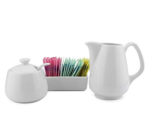Sugar and Creamer Set - 4-Piece Set w/Cream Pitcher, Sugar Bowl, Spoon & Sweetener Holder, White Ceramic Tea/Coffee -