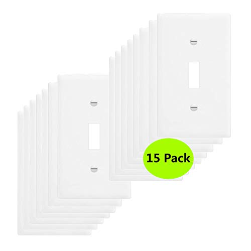 15-Pack 1-Gang Toggle Wall Plate,Light Switch Covers,Standard Size,Impact Resistance, Anti Aging & High Temperature Resistance PC Wall Plates,White