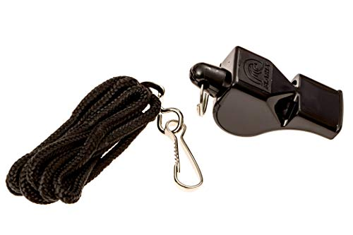 BLARIX Lifeguard Whistle and Lanyard Loudest pealess Whistles for Coach, Referee, Officials (Black and - Waterproof Whistle Pealess