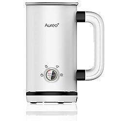 Aureo Elektrischer Milchaufschäumer in Weiß - Milchschäumer mit 5 Funktionen für warmen und kalten Milchschaum I…