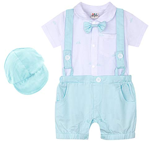 A&J DESIGN Infant Boys Gentleman Romper Overall Outfit with Hat (3-6 Months, Light Green)