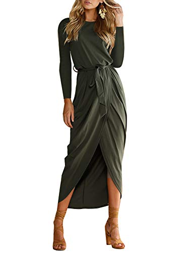 Front Dress Empire (For G and PL Women Long Sleeve High Low Sexy Empire Waist Tie Front Slit Pleated Casual Maxi Dress Olive L)