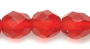Preciosa Czech Fire 8mm Polished Glass Bead, Faceted Round, Transparent Ruby, 80-Pack