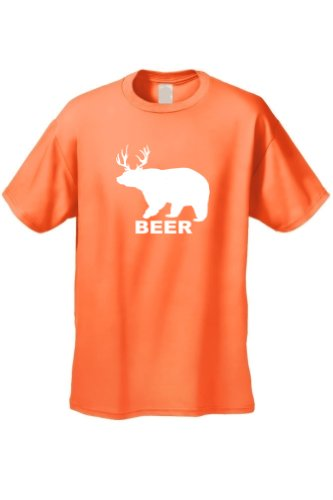 Men's/Unisex Funny Bear? Deer? It's A Beer! ORANGE Short Sleeve T-shirt (Large) - Mix Orange Vodka