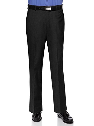 Black Pants Cuff (RGM Mens Modern Slim Fit Dress Pant - Wrinkle-Resistant Flat-Front Trouser Black 28W x 28L-Slim)