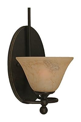 "Toltec Lighting 591-DG-508 Capri 1 Light Wall Sconce with 7"" Italian Marble Glass, Dark Granite Finish"