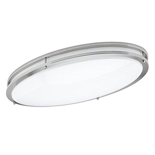 Green Beam LED Light Fixture, Flush Mount Light Fixture, Brushed Nickel Light Fixture, Kitchen Light Fixtures, Bathroom Ceiling Light Fixture, 58W, 3000K Warm Light, 5000 Lumens, 32 Inch Oval