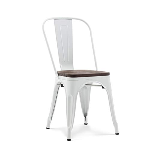 Belleze 014-HG-14085WD-WH Dining Side Chairs Steel High Back, White by Belleze (Image #1)