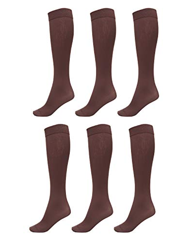 (6 Pack of Women Trouser Socks with Comfort Band Stretchy Spandex Opaque Knee High, Coffee, 9-11)