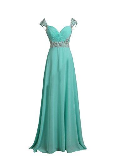 DingXuBao Woman's Chiffon Beaded Bride Long Party Evening Dress Bridesmaid Dress(US18, Tiffany Blue)