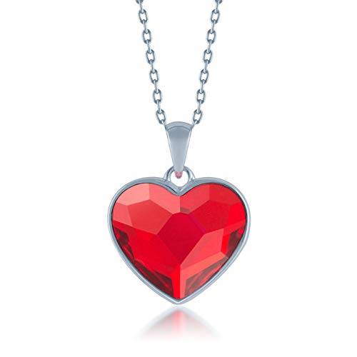 Ed Heart Diana Pendant Necklace with Red Light Siam Heart Crystals from Swarovski Silver Toned Rhodium Plated