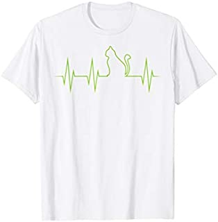 Cat In Heartbeat Funny  | Cool Love All Cats Lady Gift T-shirt | Size S - 5XL