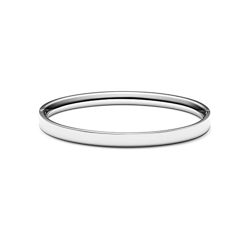 (MVMT Women's Ellipse Bangle Bracelet | Clasp Closure, Stainless Steel | Silver)