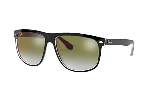 Ray-Ban RB4147 Boyfriend Square Sunglasses, Black On Transparent/Green Red Gradient Mirror, 60 ()
