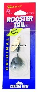 Wordens Single Hook Rooster Tail Lure, 1/16-Ounce, Black-Brass