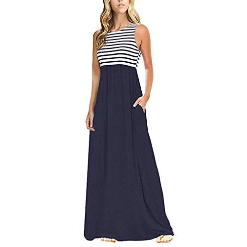 HongMong with Summer Striped Sleeveless Crew Neck Women Long Bohe Maxi Dress Pockets Navy (813 Fashion Shop)