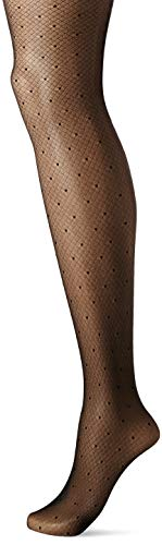 Hanes Women's Fashion Dot with Backseam Tight, black, Medium