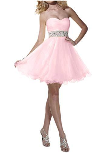 Gelb Hell Elegant Tuell Abendkleider Cocktailkleider Herzausschnitt La Guertel Steine Promkleider Mini Partykleider mia Braut Rosa tqOxwTA