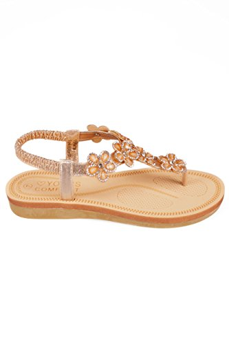 Wide Fit Women's Bronze Open Toe Sandals With Embellished Floral Straps In True Nude