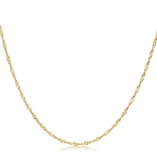 Gold Tone Twisted Rope Chain Lead Free Lobster Clasp 16