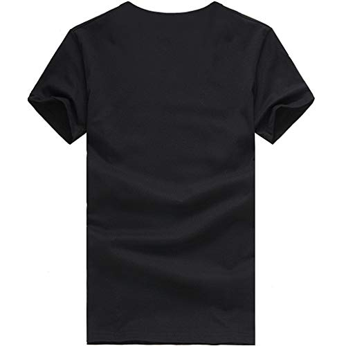 Cuello Para Fit Básica Negro Mujer Redondo Algodón Beautyjourney Slim Camiseta Camisa Tops Impresión Manga Blusa De Corta 8nzXwp