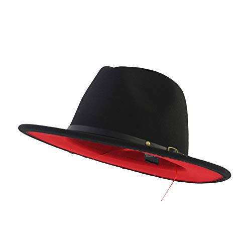 XINBONG Trend Red Black Patchwork Wool Felt Jazz Fedora Hat Casual Men Women Leather Band Wide Brim Felt Hat Trilby]()