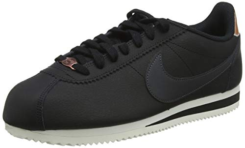 (NIKE Women's Classic Cortez Leather Black/Anthracite Casual Shoe 9.5 Women US)