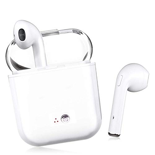 Bluetooth Earbuds, White Wireless Earbuds in-Ear Headphones Hands Free Noise Cancelling Headset Compatible with iPhone XR X 8 8plus 7 7Plus 6 6plus Samsung Galaxy S9 S8 Huawei & Other Android Devices