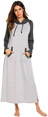 Ekouaer Sleepwear Women Long/Short Sleeve Hooded Nightgown Contrast Color Full Length Loungewear with Pocket