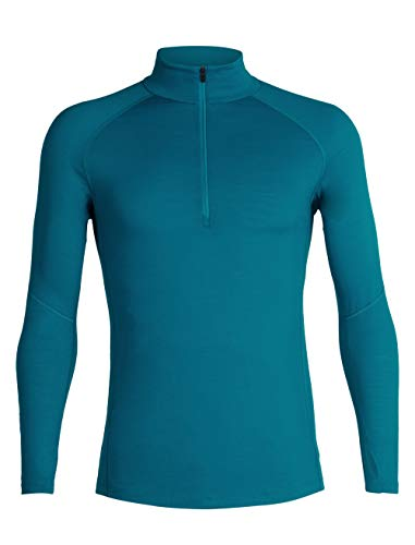 Icebreaker Merino Men's 150 Zone Long Sleeve Half Zip Base Layer Tops, Medium, Alpine/Monsoon