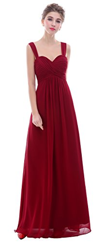 Ruched Spaghetti Straps - esvor Straps Sweetheart Long Formal Prom Gowns Bridesmaid Dress Burgundy 6