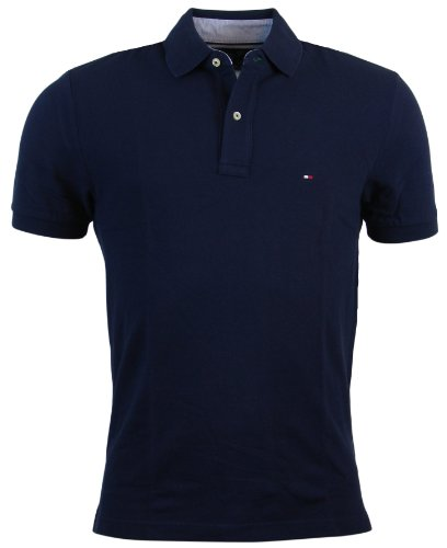 Tommy Hilfiger Men's Classic Fit Solid Color Short Sleeve Logo Polo Shirt - M - Navy (Polo For Men Tommy)