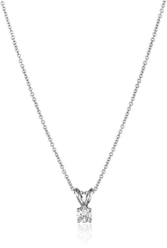 IGI Certified 18k White Gold Round-Cut Diamond Pendant Necklace (1/4cttw, G-H Color, VS2 Clarity), 18