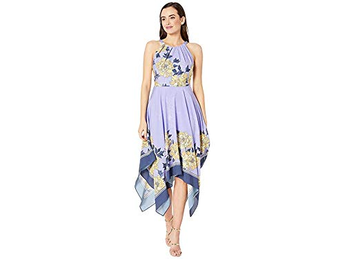 Adrianna Papell Women's Floral Halter Dress with Asymmetrical Skirt, Yellow Multi, 12 ()