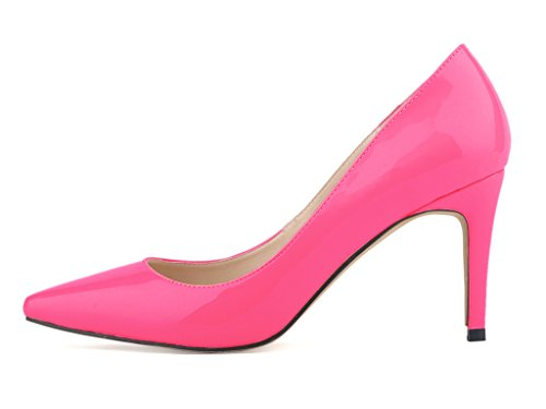 Shoes pu High On fushia Pointy Fashion Women's patent Toe Stiletto Slip Pumps Heels CA67wqz