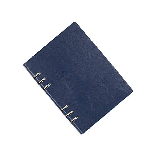 Lvcky - Carpeta de Piel tamaño A5 con Anillas, Bolsillos, Diario, Cuaderno de Tapa Dura, 150 páginas, Color Azul Oscuro