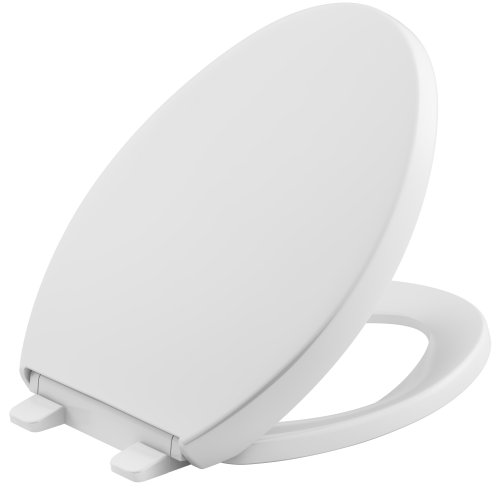 KOHLER K-4008-0 Reveal Quiet-Close with Grip-Tight Bumpers Elongated Toilet Seat in - Close Toilet Slow Lid