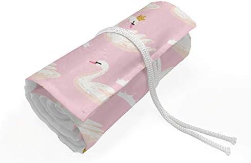 ABAKUHAUS Swans Mäppchen Rollenhalter, Blush Tone Königswasservogel, langlebig und tragbar Segeltuch Stiftablage Organizer, 48 Schlaufen, Pale Pink Cream