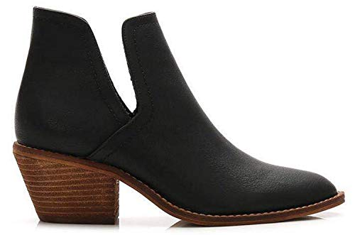 Beast Fashion Sunny-01 Slip On Side Cut Out Western Bootie (7.5, Black)
