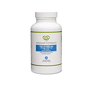 AMANAH VITAMINS Omega 3 Fish Oil 2000 mg - HALAL VITAMINS - 120 Softgels (1 - Bottle)