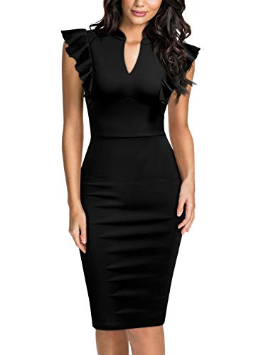 (Knitee Women's Ruffle Standing Collar V-Neck Bodycon Cocktail Pencil Dress,XX-Large,Black)