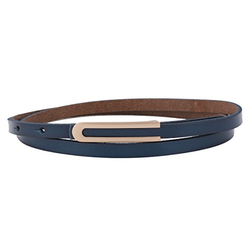 Genuine Leather Thin Dress Belt (Damara Women's Solid Thin Genuine Leather Skinny Button Dress Waist Belt,Navy)