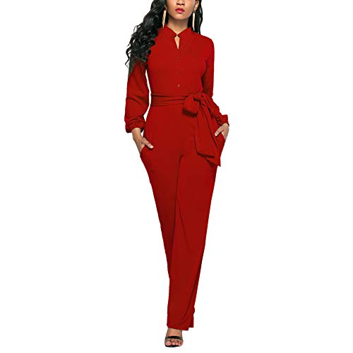 Ophestin Womens Long Sleeve Jumpsuit for Work Wide Leg Pants Rompers with Belt Red Size L