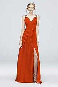 David's Bridal Plunging V-Neck Crinkle Chiffon Bridesmaid Dress Style F19837