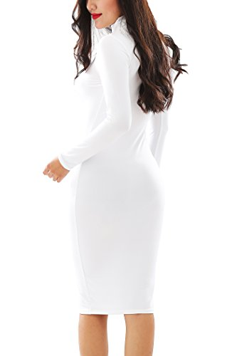 YMING Womens Sexy Long Sleeve Stretch Party Bandage Bodycon Dresses,White,L