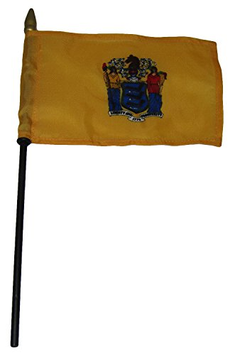 ALBATROS State of New Jersey 4 inch x 6 inch Flag Desk Set Table Wooden Stick Staff for Home and Parades, Official Party, All Weather Indoors Outdoors